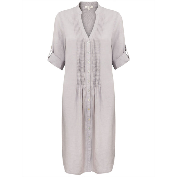 East Linen Pintuck Dress- Cream