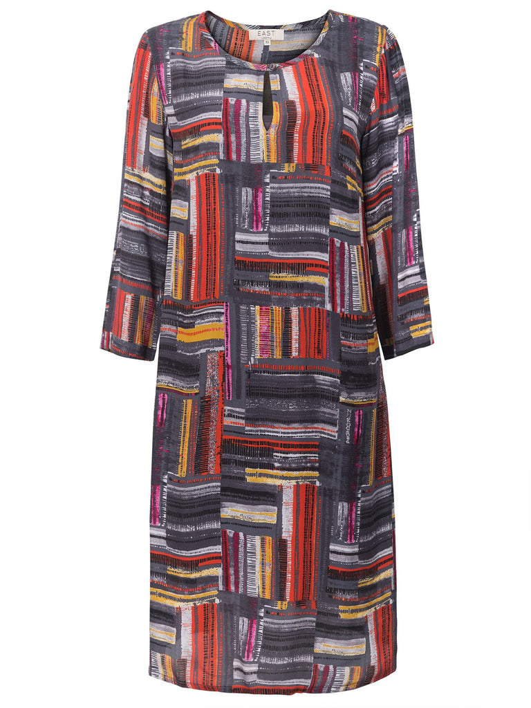 East Marcelle Check Shift Dress- Charcoal