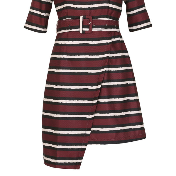 Cutie Striped Belted Dress- Maroon