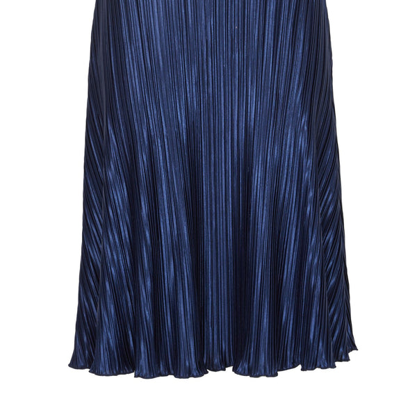 Cutie Silky Pleated Skirt- Blue