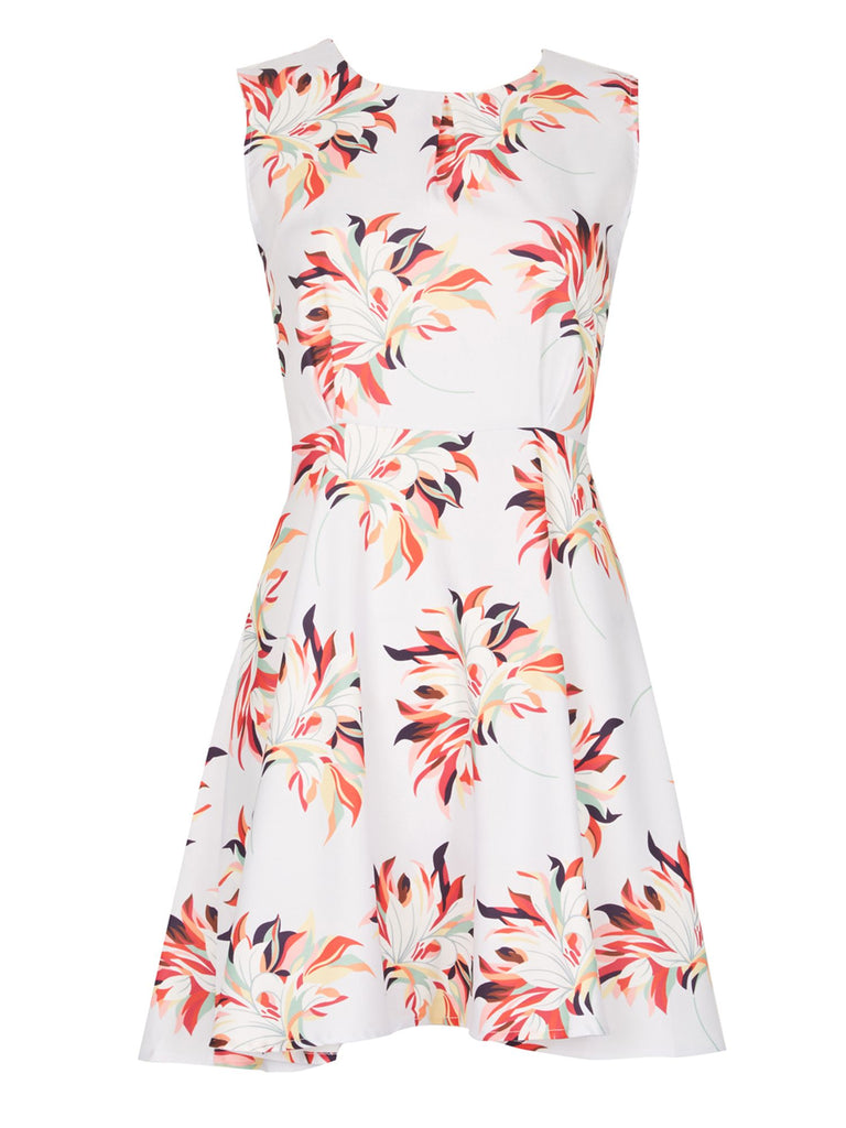 Cutie Large Floral Print Dress- Grey