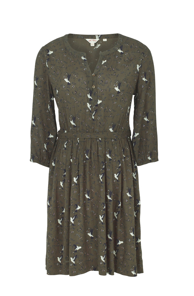 Fat Face Maddison Humming Birds Dress- Green