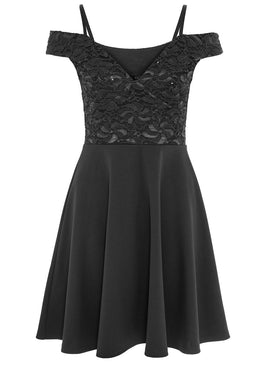 Quiz Quiz Black Sequin Lace Cold Shoulder Skater Dress- Black