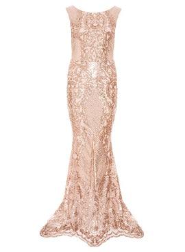 Quiz Quiz Rose Gold Sequin Mesh High Neck Fishtail Max- Rose Gold