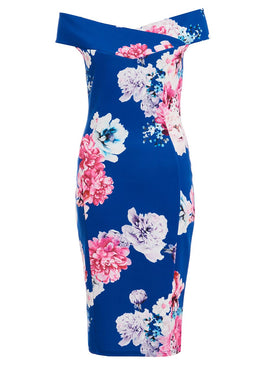 Quiz Quiz Royal Blue Floral Print Bardot Midi Dress- Blue