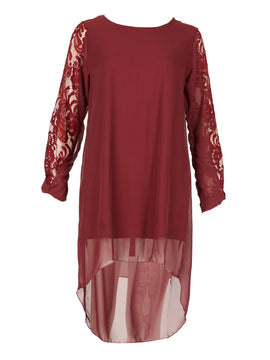 Feverfish Chiffon Lace Sleeve Panel Tunic Dress- Dark Red