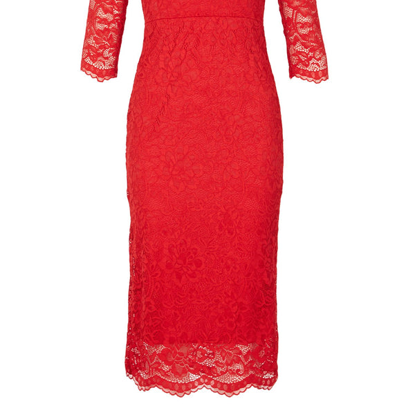 Feverfish Lace Scallop V Neck Dress- Red