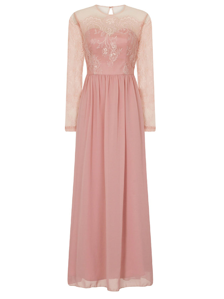 Chi Chi London Lace maxi dress- Pink