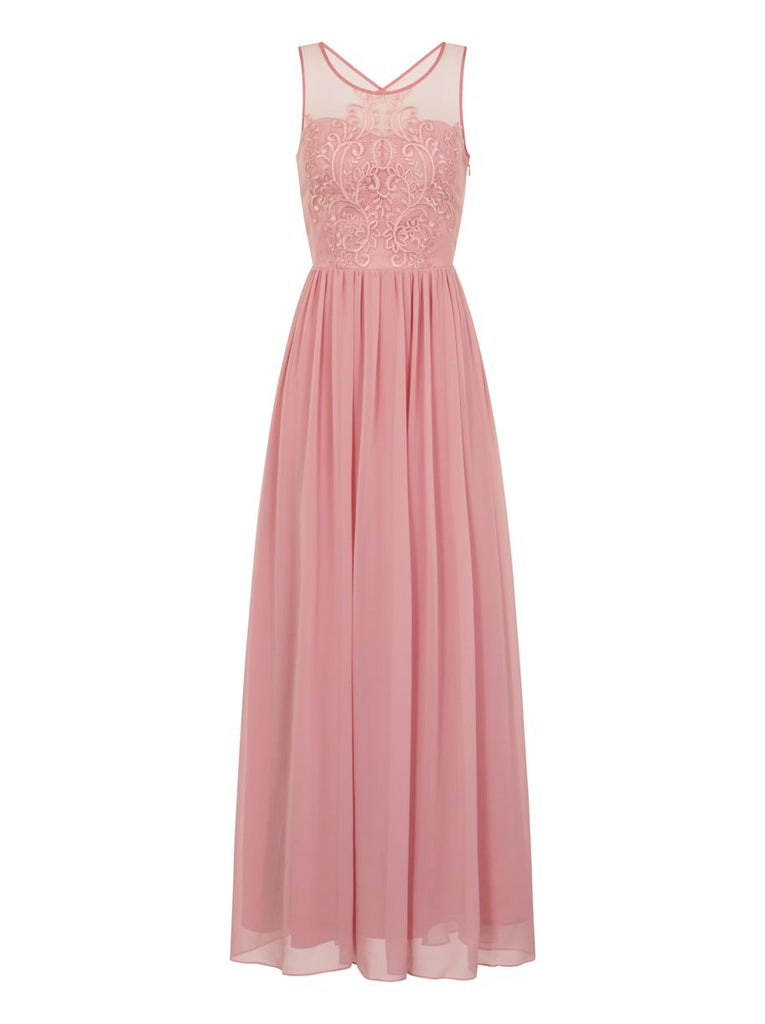 Chi Chi London Embroidered Bodice Maxi Dress- Pink