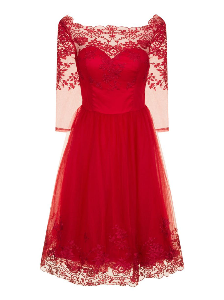 Chi Chi London Embroidered Midi Dress- Red