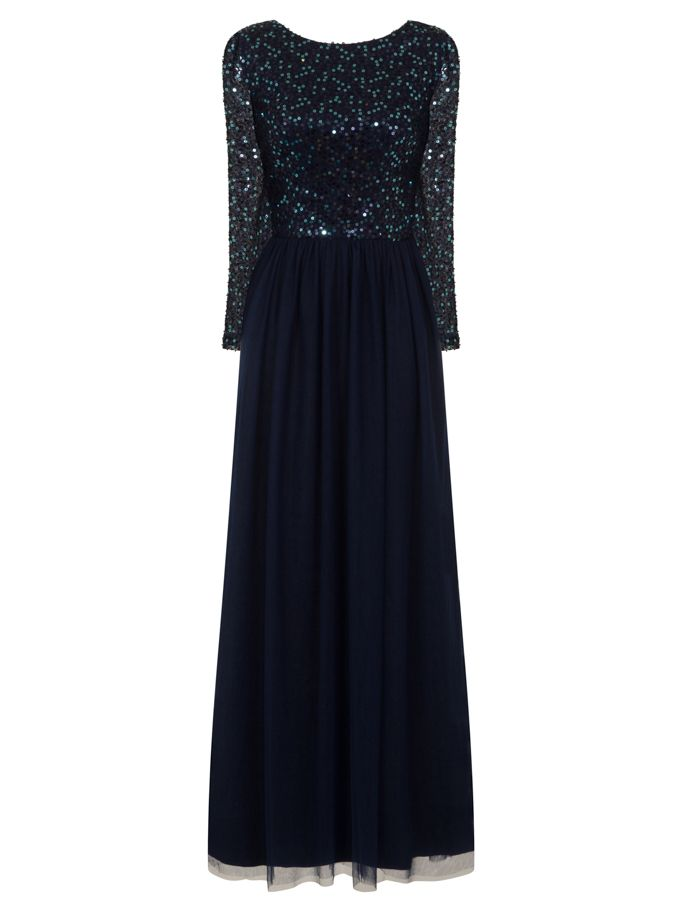 Chi Chi London Sequinned Maxi Dress- Blue