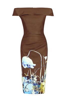 Jolie Moi Printed Bardot Neck Bodycon Dress- Brown