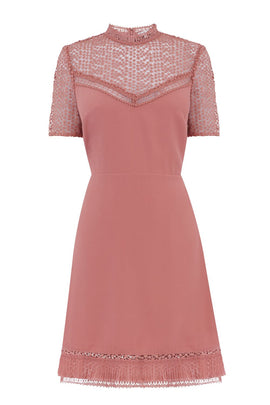 Warehouse Crepe And Lace Mix Dress- Light Pink