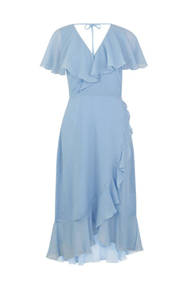 Warehouse Soft Ruffle Midi Dress- Light Blue