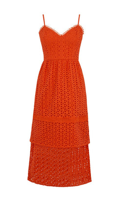 Warehouse Tiered Broderie Midi Dress- Bright Red