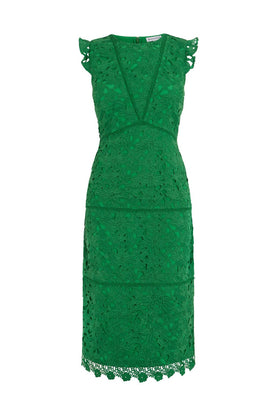 Warehouse Scallop Hem Lace Midi Dress- Green
