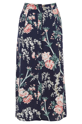 Warehouse Toile De Jour Midi Skirt- Blue Print
