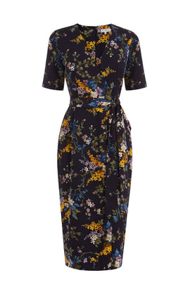 Warehouse Trailing Floral Midi Dress- Blue
