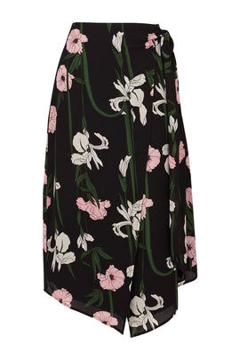 Warehouse Tiger Lily Wrap Midi Skirt- Black