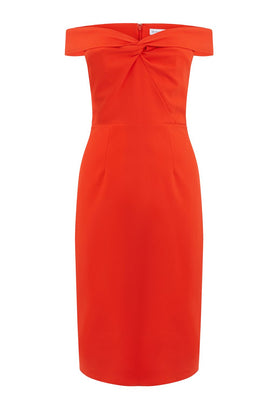 Warehouse Bardot Pencil Dress- Bright Red