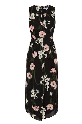 Warehouse Lily Print Wrap Midi Dress- Black