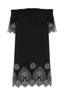Warehouse Broderie Bardot Dress- Black