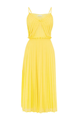 Warehouse Pleated Midi Dress- Yellow