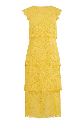 Warehouse Tiered Lace Dress- Yellow