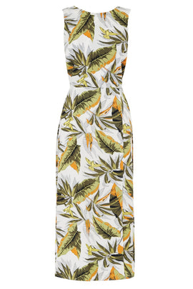 Warehouse Palm Print Midi Dress- Multi-Coloured