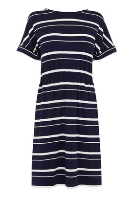 Warehouse Stripe Channel Midi Dress- Blue