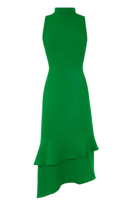 Warehouse Tie Back Ruffle Midi Dress- Green