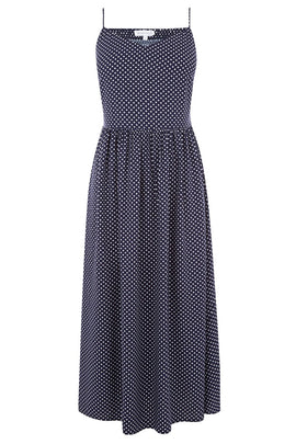 Warehouse Spot Smocked Midi Dress- Blue