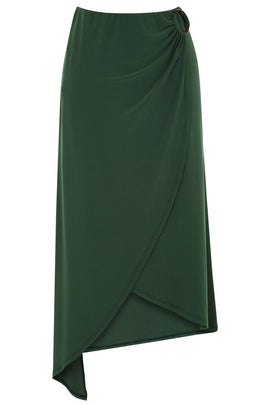 Warehouse O Ring Slinky Midi Skirt- Dark Green