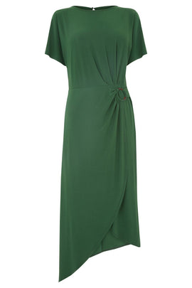 Warehouse O Ring Slinky Midi Dress- Dark Green
