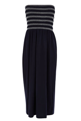 Warehouse Shirred Bandeau Midi Dress- Blue