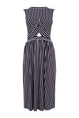 Warehouse Stripe Twist Front Midi Dress- Blue