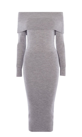 Karen Millen Bardot Knit Dress- Grey