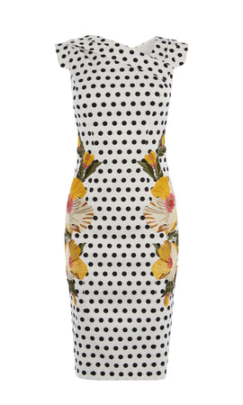 Karen Millen Ploka Dot Rencil Dress- Silverlic Gold & Mult