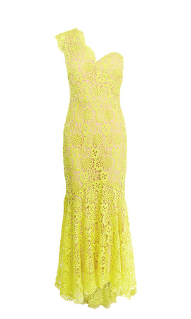 Karen Millen One Shoulder Lace Maxi Dress- Lime