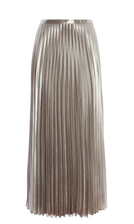Karen Millen Metallic Pleated Skirt- Gold