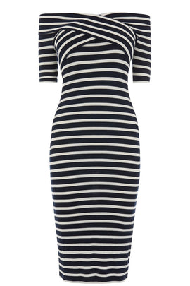 Oasis Bardot Wrap Stripe Dress- Multi-Coloured
