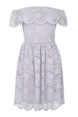 Oasis Lace bardot skater dress- Lilac