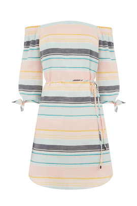 Oasis Pastel stripe bardot dress- Multi-Coloured