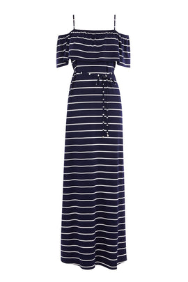 Oasis Stripe bardot maxi dress- Blue Multi