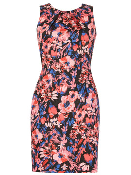 Izabel London Floral Tailored Dress- Multi-Coloured
