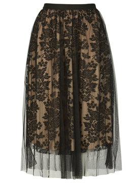 Izabel London Floral Mesh Overlay Skirt- Black