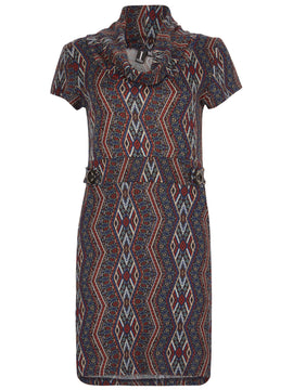 Izabel London Aztec Print Roll Neck Tunic Dress- Multi-Coloured