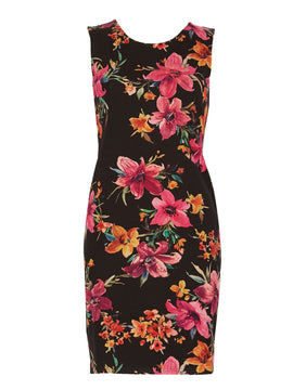 Izabel London Floral Bodycon Dress- Black