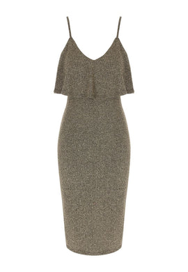 Jane Norman Gold Ruffle Bodycon Dress- Silverlic