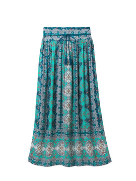 White Stuff Mesopotamia Maxi Crinkle Skirt- Multi-Coloured